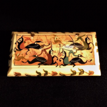 Persian Bone Pill or Trinket Box with Battle Scene